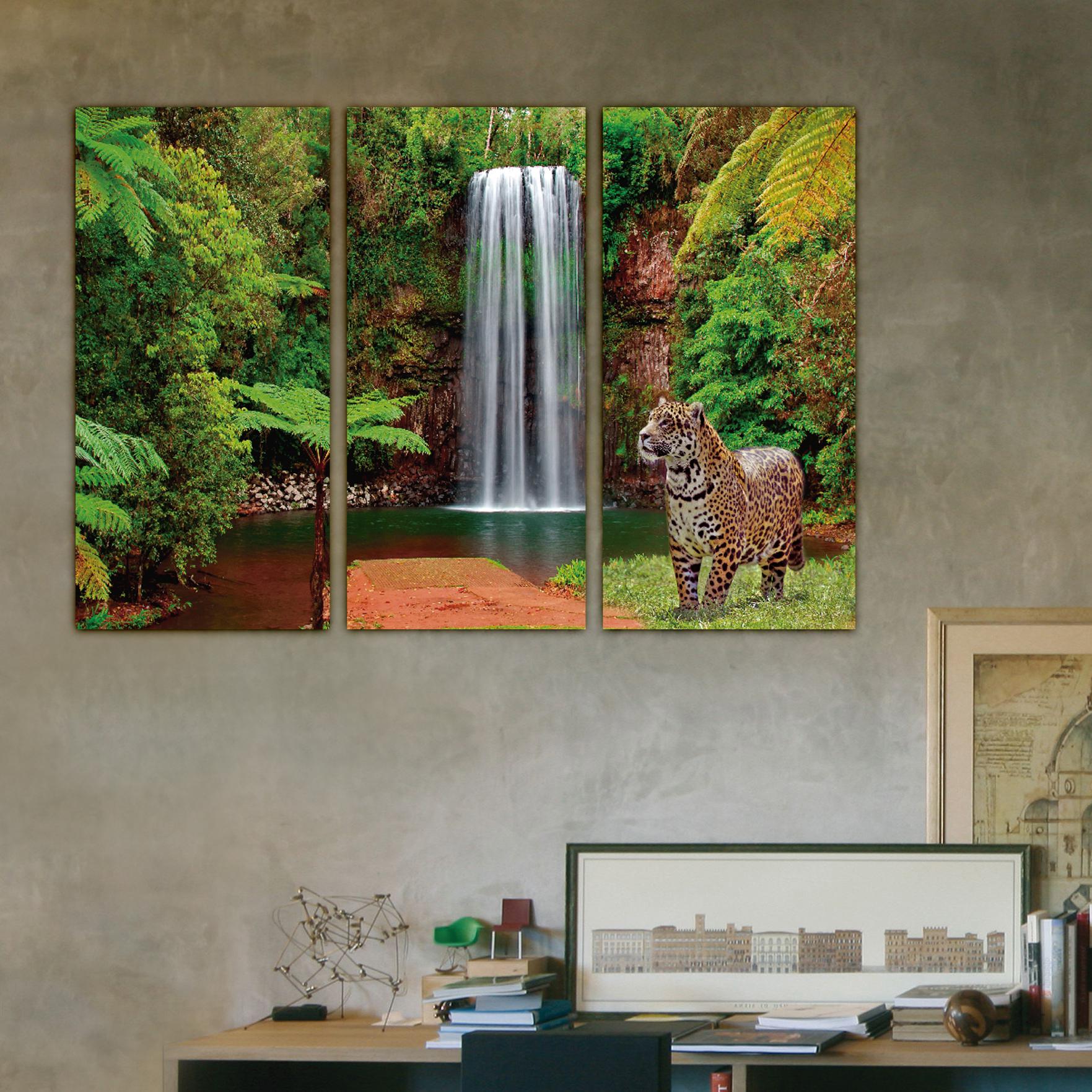 Cascada y jaguaret 110 cm x 70 cm cuadros decorativos for Donde puedo comprar cuadros decorativos