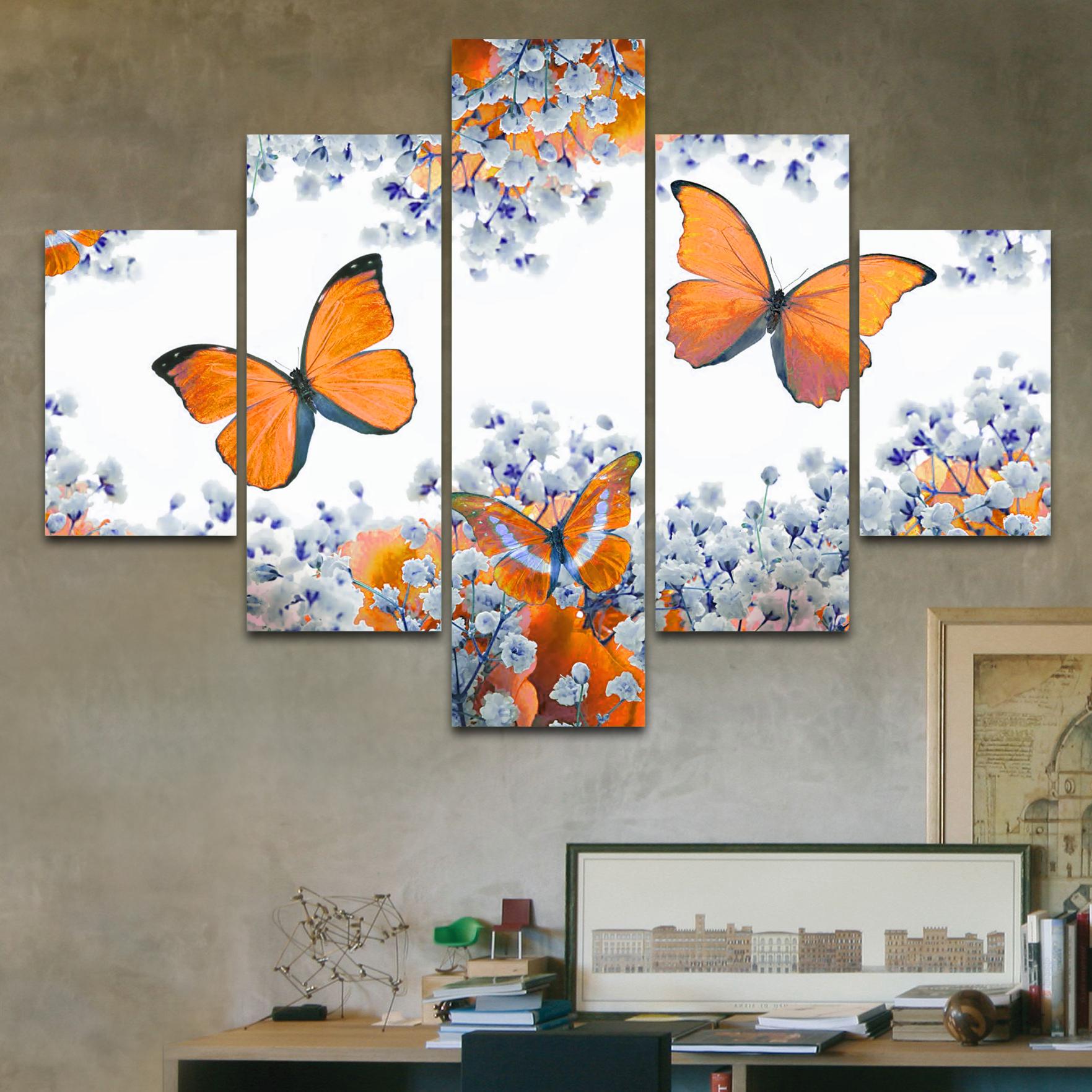 Mariposas naranjas 110 cm x 70 cm cuadros decorativos for Donde puedo comprar cuadros decorativos