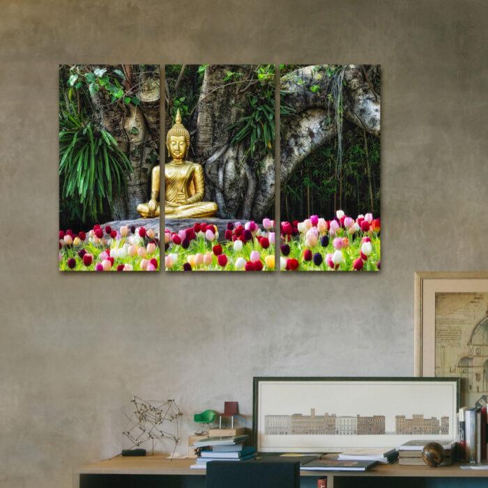Buda en Tulipanes (110 cm x 70 cm)