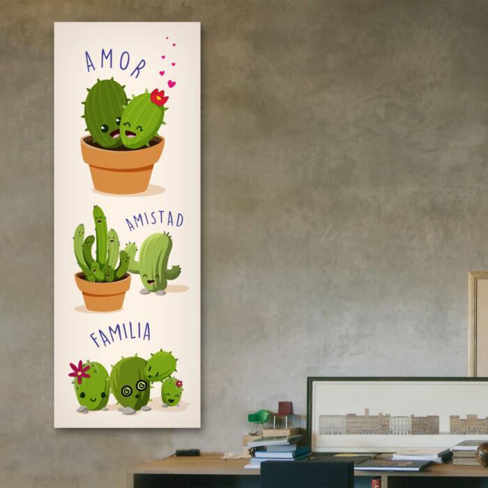 Cactus [Amor, Amistad, Familia] (70 cm x 24 cm)