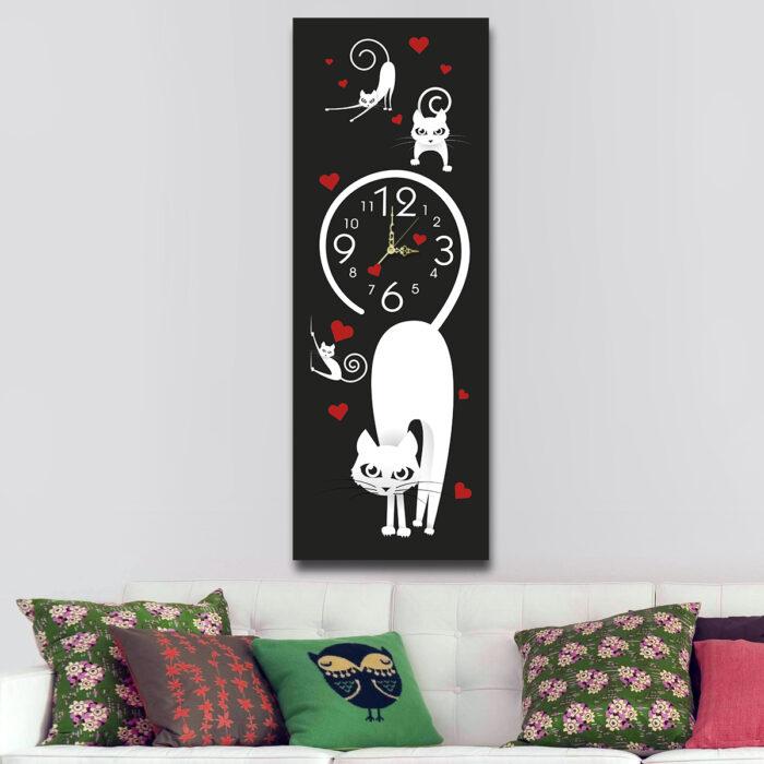 Gatitos Blancos con Reloj (70 cm x 24 cm)